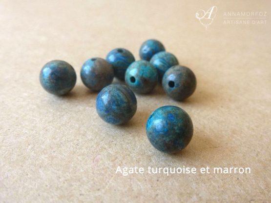 perles en agate marron et turquoise pour les bijoux borromeo