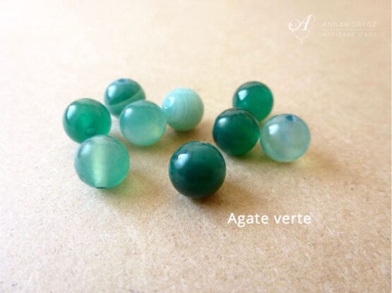 perles en agate verte rondes pour la collection borromeo by annamorfoz