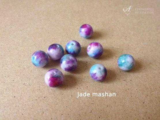 Perles en jaspe mashan vert, violet et rose pour vos bijoux Annamorfoz