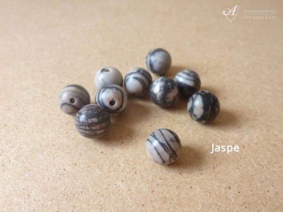 Perles en jaspe zébré gris pour vos bijoux Annamorfoz