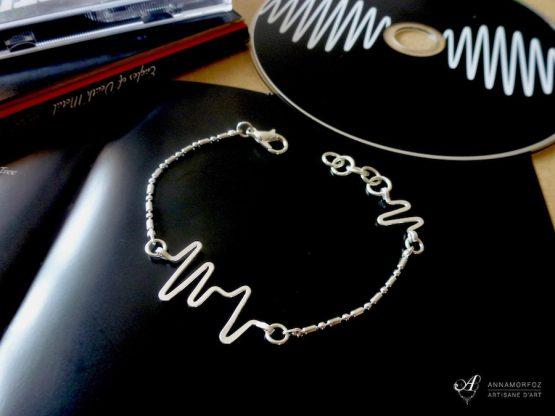 bracelet electrocardiogramme fait main par Annamorfoz