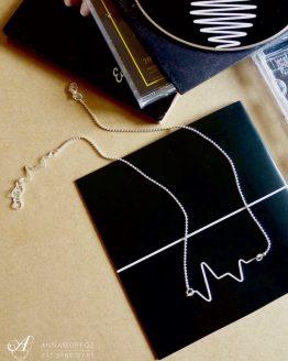 collier battement de cœur inspiré d'un électrocardiogramme