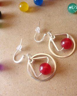 boucles d'oreilles rondes rouges par Annamorfoz