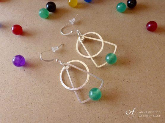 Boucles d'oreilles géométriques en jade et onyx par Annamorfoz