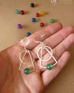 Boucles d'oreilles en jade vert de la collection Astro faites main par Annamorfoz