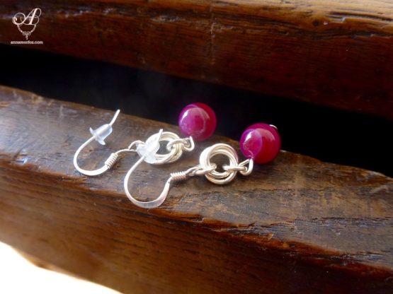 Boucles d'oreilles en agate rose et plaqué argent de la collection Borromeo de Annamorfoz