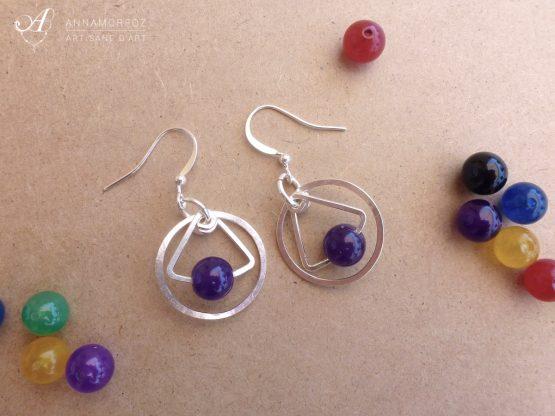 boucles d'oreilles Astro en jade violet faites à la main