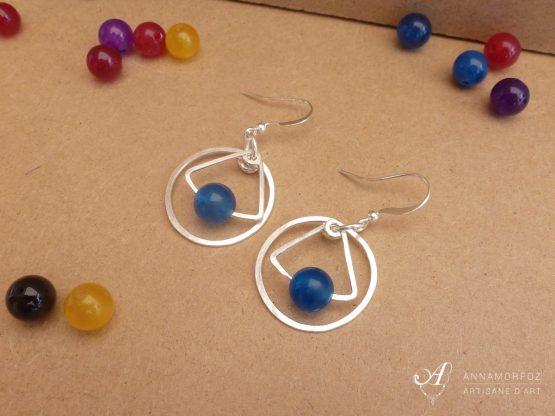 boucles d'oreilles bleues en jade - fait main par Annamorfoz