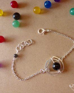 Bracelet en onyx noir et plaqué argent de la collection Astro
