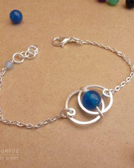 bracelet en jade bleu et plaqué argent