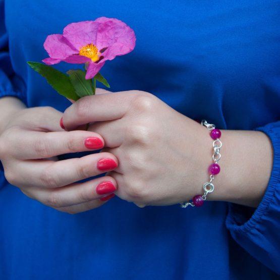 Bracelet Borromeo en agate rose fait à la main par Annamorfoz