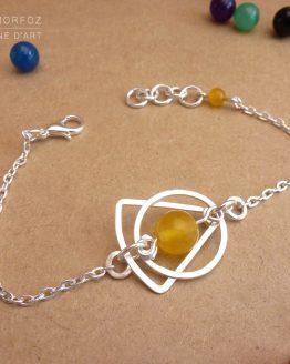 bracelet triangle et rond en jade jaune