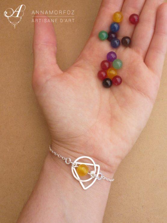 bracelet jaune argenté porté