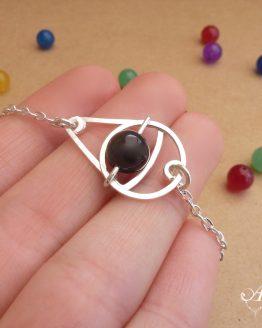 bracelet argenté en onyx