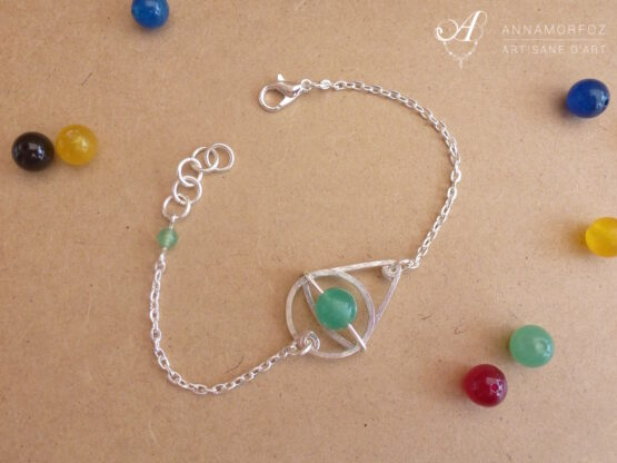 bracelet géométrique en jade vert