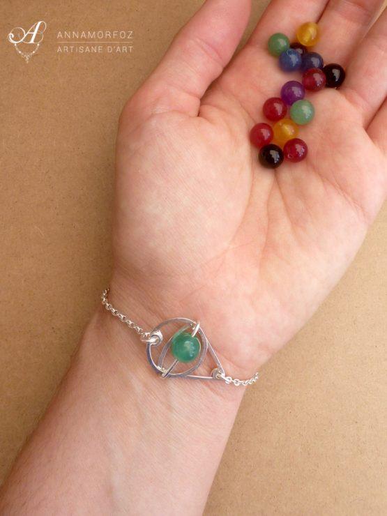 bracelet en jade vert porté