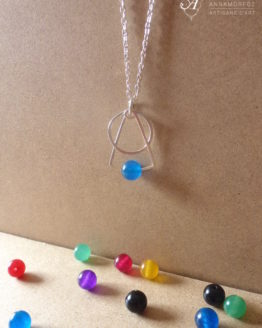 Collier Astro avec une perle en jade bleu, fait main en plaqué argent par Annamorfoz