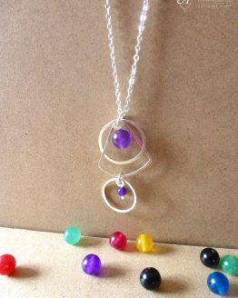 Collier Astro en jade violet fait main par Annamorfoz