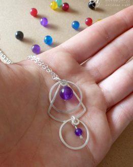 Pendentif du collier en jade violet Astro fait main par Annamorfoz