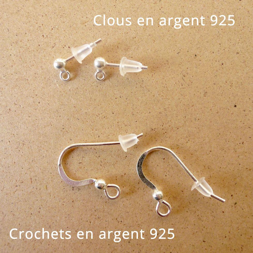 Clous et crochets en argent 925 pour les boucles d'oreilles Annamorfoz
