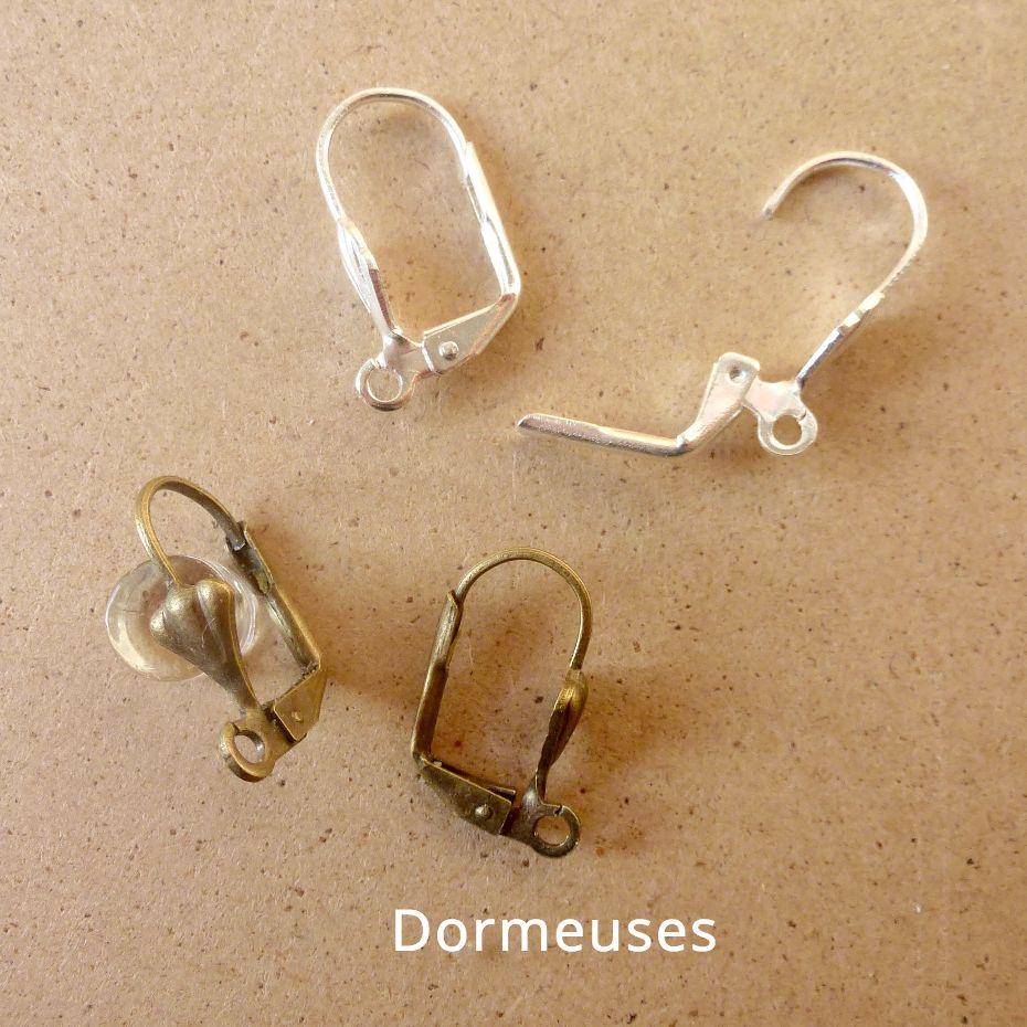 Dormeuses en métal argenté ou couleur bronze pour les boucles d'oreilles Annamorfoz