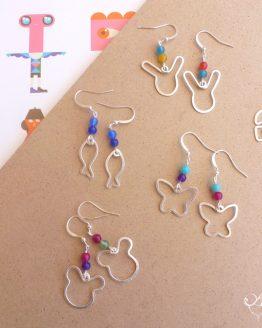 Boucles d'oreilles colorées en forme d'animaux et symboles pour enfants (mais pas seulement !) faites à la main par Annamorfoz