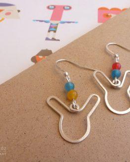 Boucles d'oreilles lapins argentés, bleu vert, rouge et jaune faites à la main par Annamorfoz