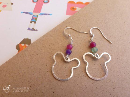 Boucles d'oreilles en forme d'ours souris rose, vert, violet faites à la main par Annamorfoz