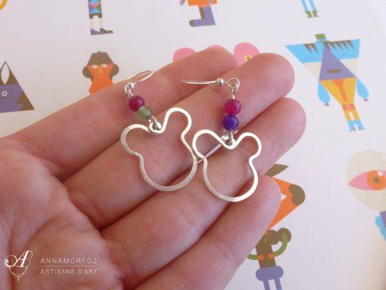 Boucles d'oreilles ours souris rose, vert, violet faites à la main par Annamorfoz