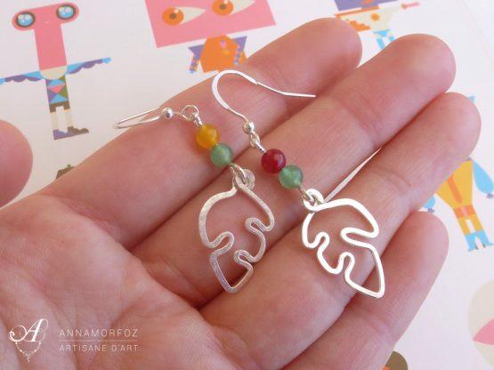 Boucles d'oreilles feuilles vertes, rouge et jaune faites à la main par Annamorfoz