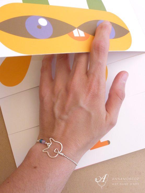 Bracelet chat plaqué argent et pierres fines fait main par Annamorfoz