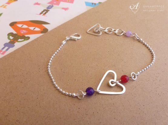 Bracelet cœur rouge, violet et argenté fait main par Annamorfoz