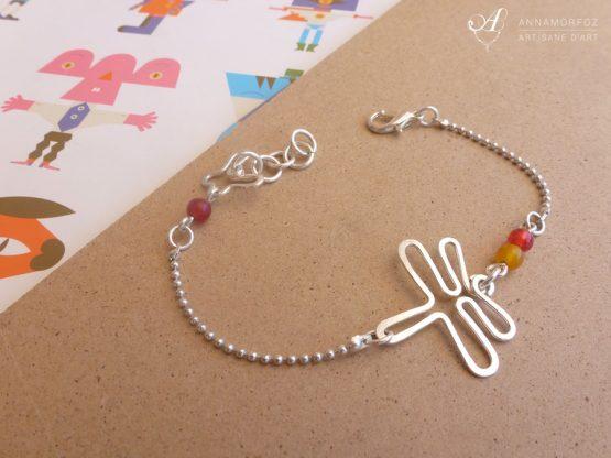 Bracelet libellule en plaqué argent avec pierres fines jaune et orange fait main par Annamorfoz