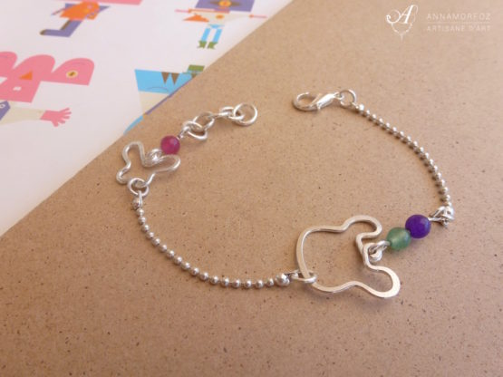 Bracelet ours souris vert, violet, rose et argenté, bijou artisanal par Annamorfoz