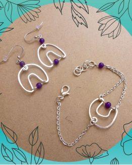 parure abstraction violette faite à la main par Annamorfoz