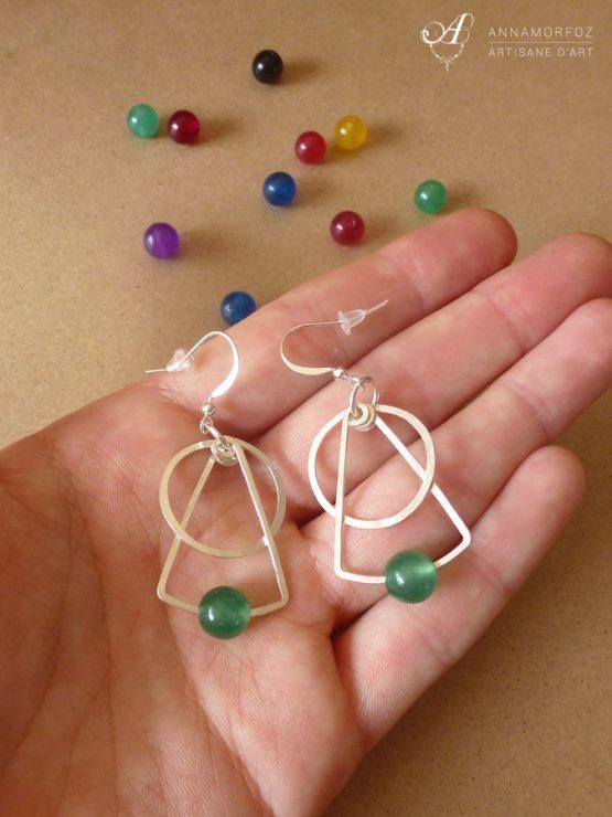 boucles d'oreilles géométriques vertes