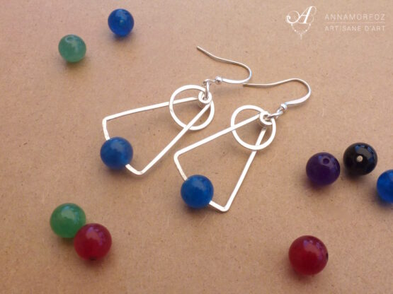 boucles d'oreilles astro en jade bleu