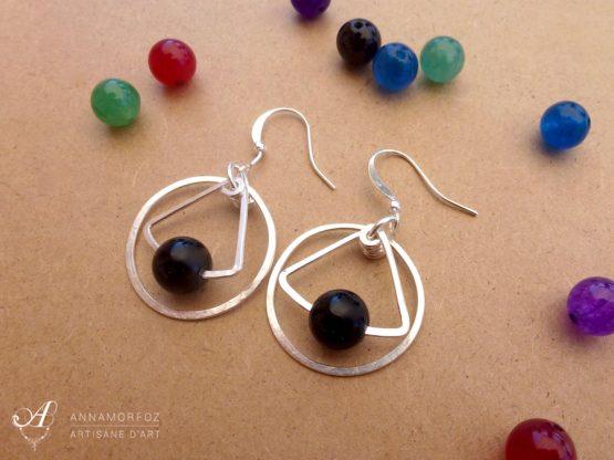 boucles d'oreilles en onyx noir argentées