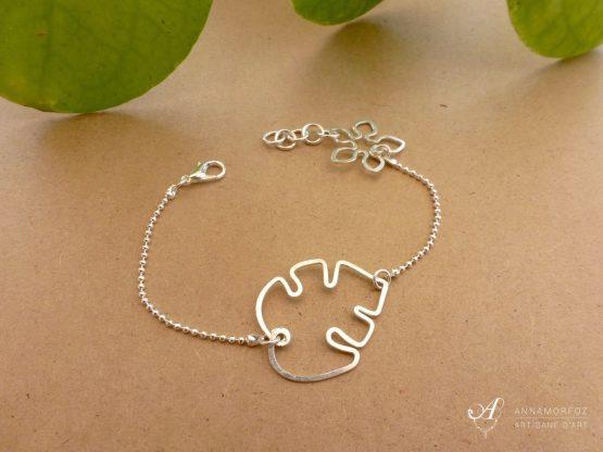 bracelet fleur de monstera en plaqué argent fait main