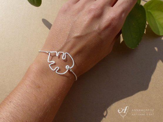 bracelet fleur de monstera en plaqué argent