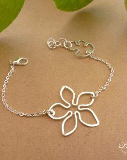 bracelet fleur argentée