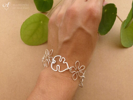 bracelet tropical fleurs et feuilles argenté