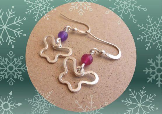 boucles d'oreilles mini papillons rose et violet fait main