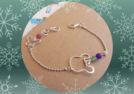 bracelet ours violet rose vert