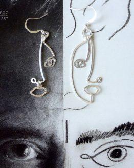 boucles d'oreilles profils ou visages faites à la main