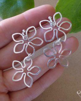 boucles d'oreilles duo de fleurs