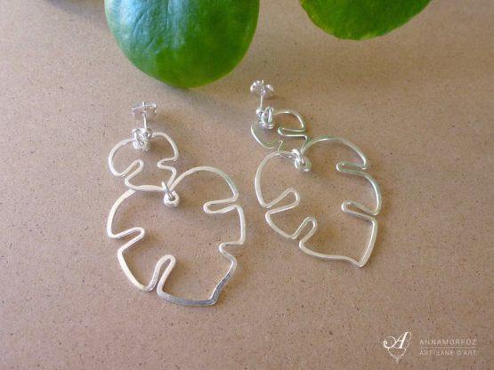 boucles d'oreilles duo feuilles