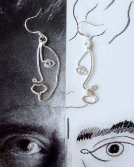 boucles d'oreilles visages argentées