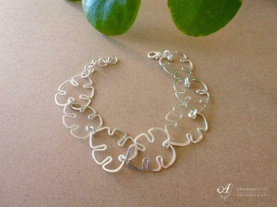 bracelet feuilles argenté