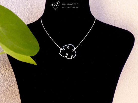 collier pendentif feuille